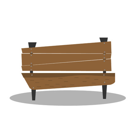 Bench for rest on a white background. Isolated wooden, vector bench.