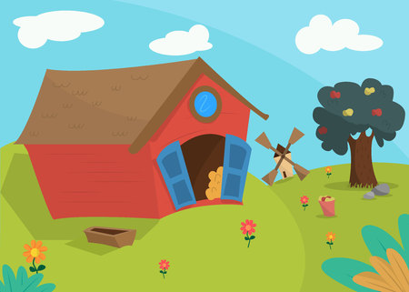 Housekeeping, landscape. Red barn, apple tree and a bucket of apples. Mill far away. Agricultural yard on the farm.