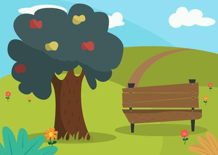Landscape in the park. Bench for rest in the park and an apple tree. Summer day. Summer landscape. Ilustração