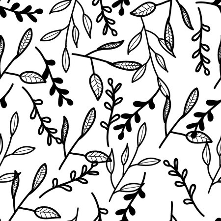 Black white pattern with leaves and branches. Natural pattern. Vector pattern.