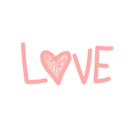 The word Love. The pink vector word Love. Design element. Shaded heart.