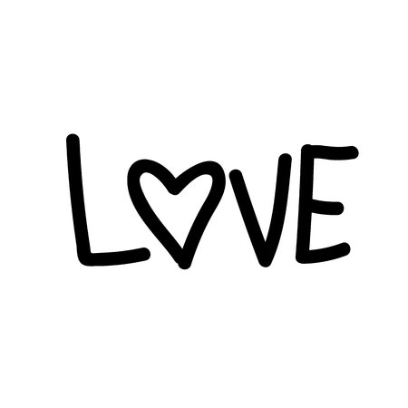 Black and white concept on the theme of Love. Black inscription Love with a heart.