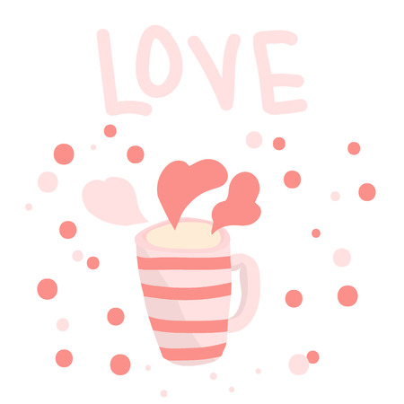 Mug with hot drink in gently pink hues. Love concept. Valentines Day.