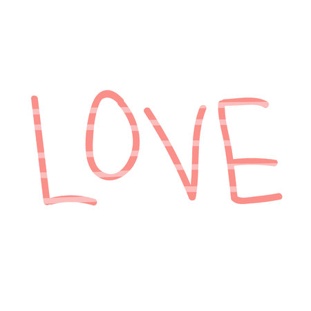 The word Love with a striped pattern in coral shades. Love concept. Valentines Day. Ilustração