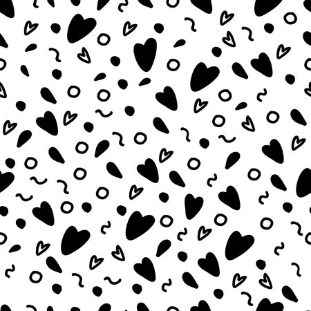 Black hearts and painted elements. Universal pattern. Vector seamless pattern.