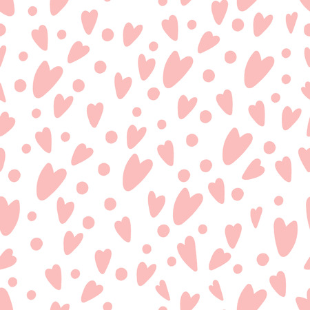 Gently pink hearts and circles. Love concept. Delicate pattern in cartoon style. Vector seamless pattern. Ilustração