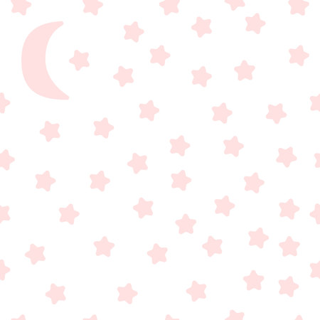 Gently pink stars and the moon. Starry sky in cartoon style. Vector seamless pattern. Ilustração