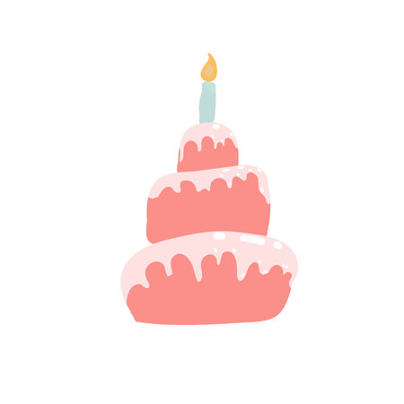 Birthday cake in pink, pastel shades. Confectionery concept. Sweetness.
