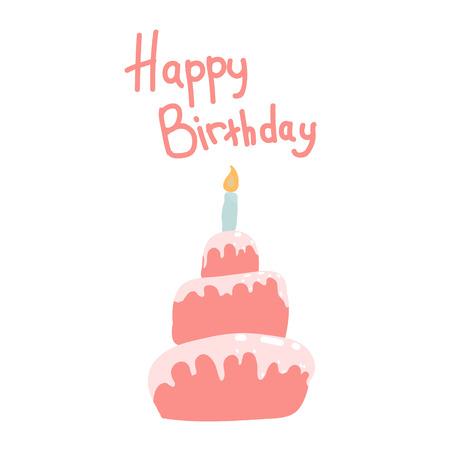 Birthday cake in pastel, pink tones. Inscription Happy Birthday. Lettering.