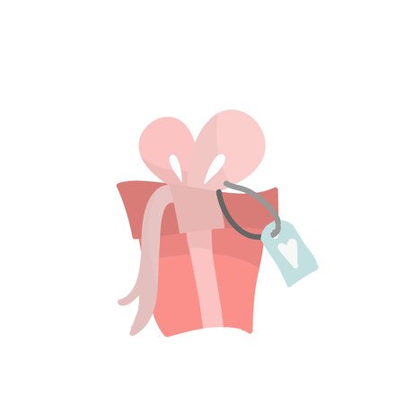 Holiday gift in pink, pastel shades. Festive concept. Gift in cartoon style.