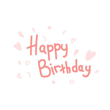 The inscription Happy Birthday in a coral shade. Gently pink hearts and painted elements.Lettering.