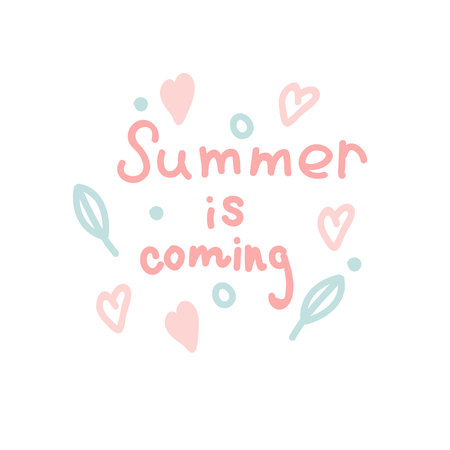 Summer is coming. Gently pink letters. Summer concept. Leaves, circles, hearts. Ilustração