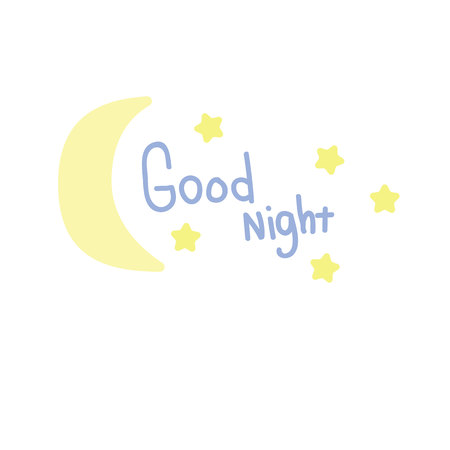 Good night. Blue inscription and yellow stars with the moon. Pastel shades.