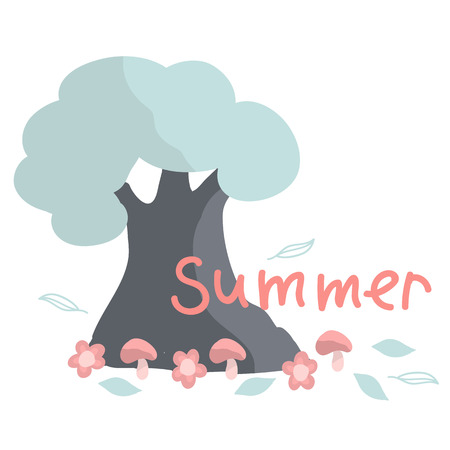 Summer. Pink letters. Tree in cartoon style. Summer concept.