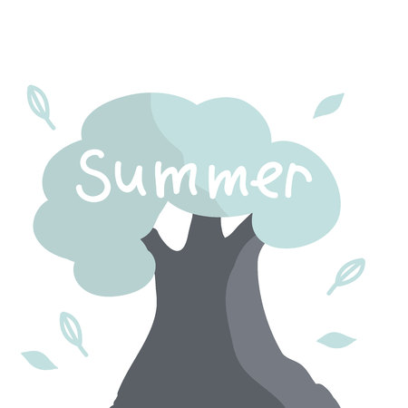 Summer. White letters. Tree in cartoon style. Summer concept.