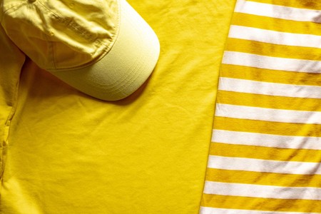 Flat layout on a summer theme. Summer concept in yellow colors.
