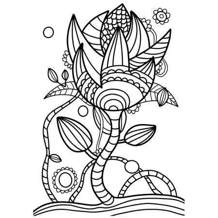 Coloring abstract flower in the style of zentang.