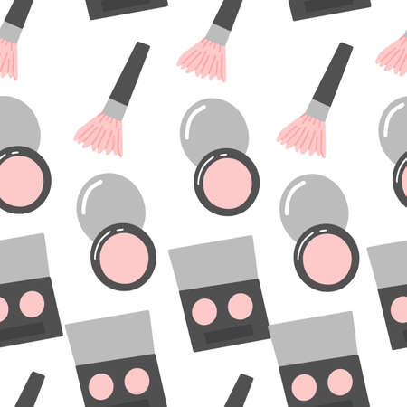 Vector seamless pattern with makeup. Eyeshadow, brush and powder.