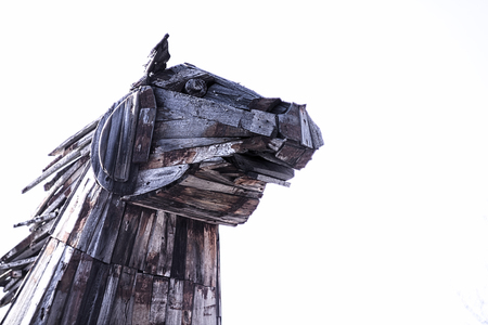 The head of the wooden Trojan horse