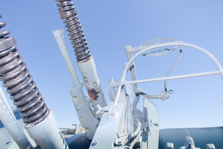 Ship anti-aircraft gun close up. Intended for shooting at enemy aircraft and helicopters.