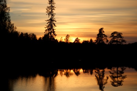 The sun sets in the forest growing on the shore of the lake. Natural sunset at the weekend. Stock Photo