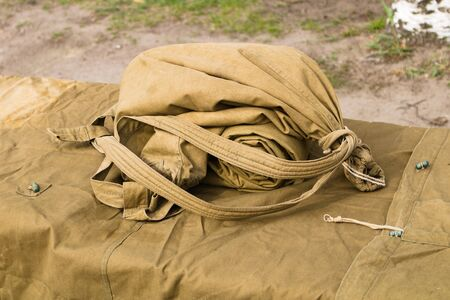 Army bag filled with ammunition and ready for use before the exercise Stockfoto