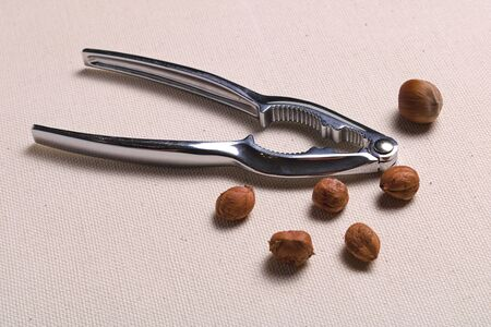Metal nuts tongs and chopped hazelnut shell mess up on a rough cloth cloth