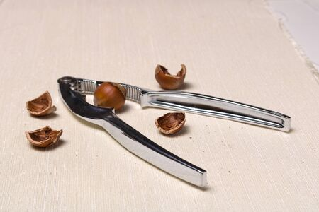 Metal nuts tongs and rich in protein and nutrients hazelnut mess up on a rough cloth cloth