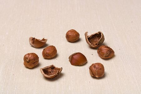 Hazelnut kernels, nuts and shellnuts on a light cloth tablecloth/ Background with copyspace