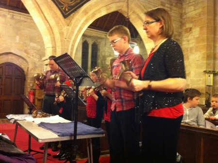 redditch: Handbell ringing at St Laurence Church Beoly Redditch Worcestershire