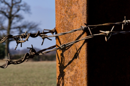 Barbed wire on metal post Stock Photo