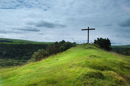 The way to the cross, Ffald-y-Brenin Christian Retreat Centre Stock Photo - 31458084