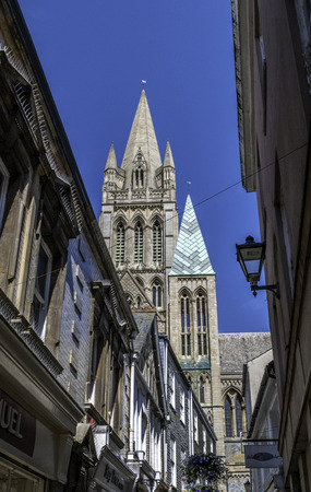 Truro cathedral tower viewed from street