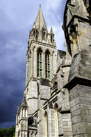 View upwards to Truro Cathedral Tower Stock Photo