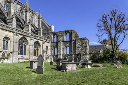 perpendicular: Malmesbury Abbey, showing ruins at south-eastern corner