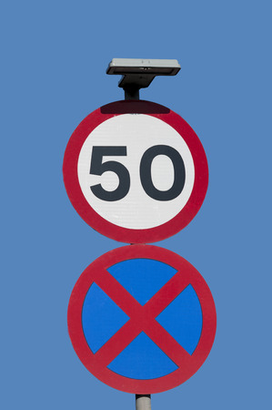 50mph speed sign and urban clearway Stock Photo