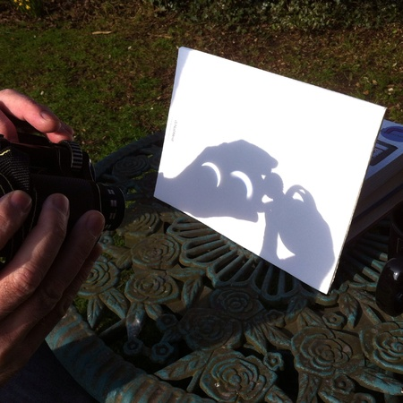 reversed: Solar eclipsed projected through reversed binoculars to protect eye sight
