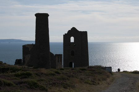 tin: Wheal Coates tin mine backlit Stock Photo