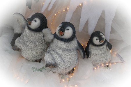 mirth: Christmas penguins waving and dancing Stock Photo