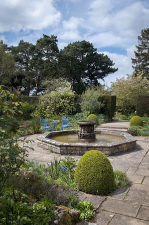 octogonal: Octagonal pond and medieval style carved fountain.