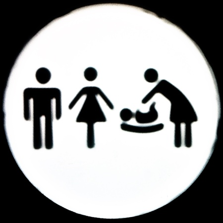 man: Symbols of man woman and baby change in toilet door