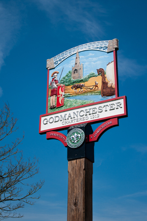 Town sign at Godmanchester in Cambridgeshire.