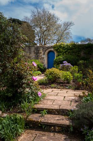 blue door: Garden path to blue door in wall. Stock Photo