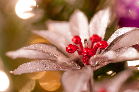Silver flower with red center Christmas decoration. Bokeh background.