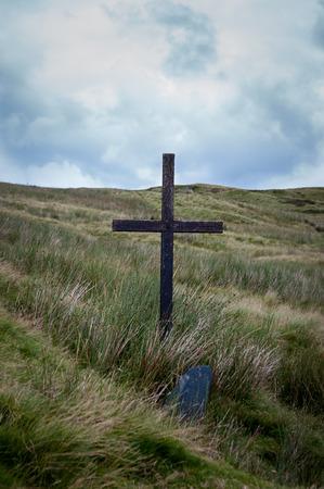 Pilgrims Cross on Bwlch y Groes, Pass of the Cross, in Gwynedd Wales.