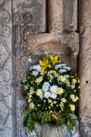 Flowers in niche, Malmesbury Abbey