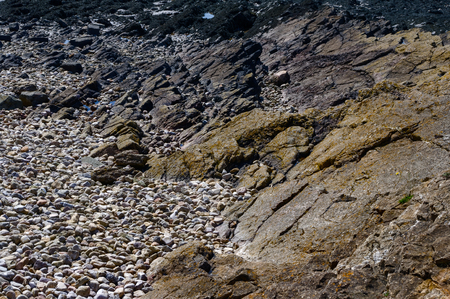 Rocks on the shore at Clevedon in Somerset, a geological site of interest. Stock Photo