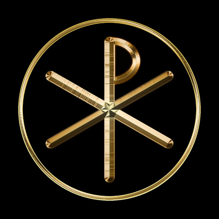 """The ancient Christian Chi-Rho symbol from the first two letters of """"Christ"""" in Greek. Black background."""