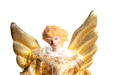Christmas angel ornament with golden wings
