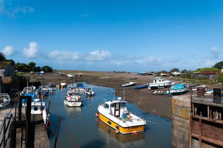 Boats in harbour at Porlock Weir, Somerset. Stock Photo - 138138120
